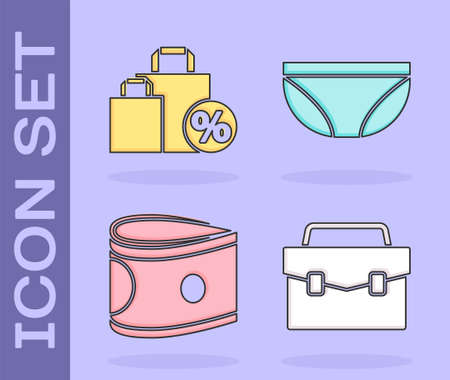 Set Briefcase, Shoping bag with discount, Stacks paper money cash and Underwear icon. Vector.