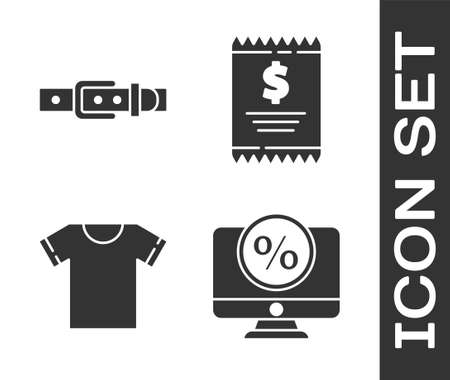 Set Percent discount and monitor, Leather belt, T-shirt and Paper check and financial check icon. Vector.