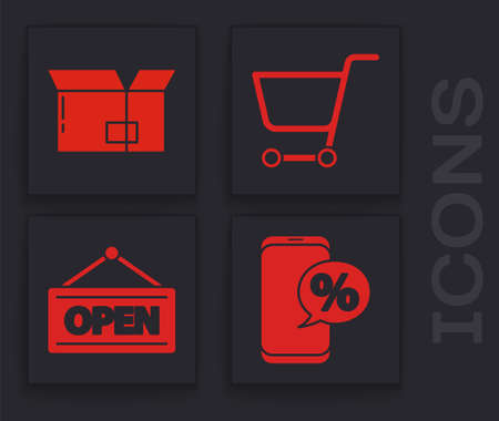 Set Percent discount and phone, Carton cardboard box, Shopping cart and Hanging sign with Open icon. Vector.