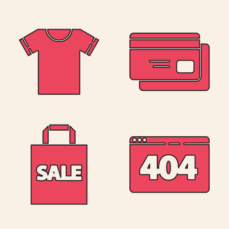 Set Page with a 404 error, T-shirt, Credit card and Shopping bag with Sale icon. Vector. Ilustracja