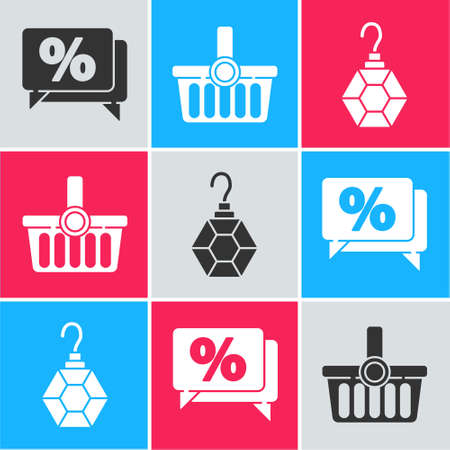 Set Discount percent tag, Shopping basket and Earring icon. Vector.