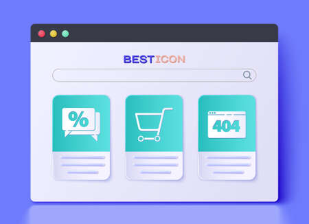 Set Shopping cart, Discount percent tag and Page with a 404 error icon. Vector.