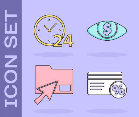Set Discount card with percent, Clock 24 hours, Cursor click document folder and Eye with dollar icon. Vector.