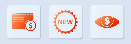 Set Price tag with New, Online shopping on screen and Eye with dollar. White square button. Vector. Stock Illustratie