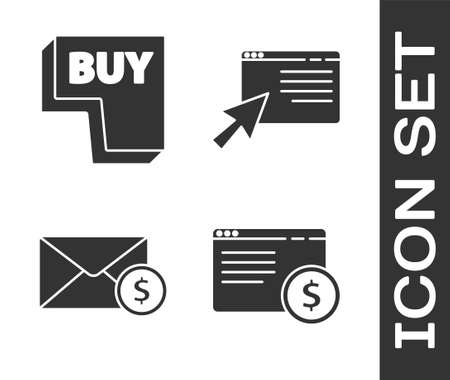 Set Online shopping on screen, Buy button, Envelope with coin dollar and Online shopping on screen icon. Vector.