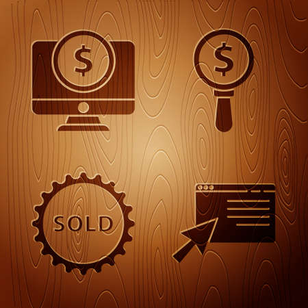 Set Online shopping on screen, Computer monitor with dollar, Sold label and Magnifying glass and dollar on wooden background. Vector.