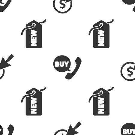 Set Cursor and coin, Phone and speech bubble with Buy and Price tag with New on seamless pattern. Vector.