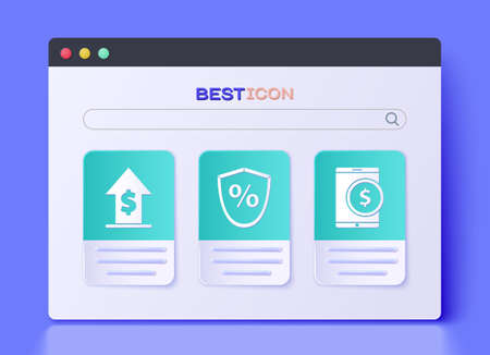 Set Loan percent, Financial growth and coin and Tablet with dollar icon. Vector. Vectores