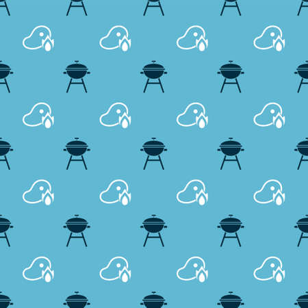 Set Barbecue grill and Grilled steak meat and fire flame on seamless pattern. Vector. Ilustrace