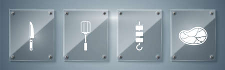 Set Steak meat, Grilled shish kebab on skewer stick, Spatula and Knife. Square glass panels. Vector.