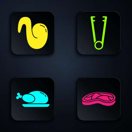 Set Steak meat, Fried chicken wing, Roasted turkey or chicken and Meat tongs. Black square button. Vector.