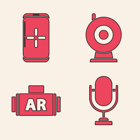 Set Microphone, Smartphone and playing in game, Web camera and Ar, augmented reality icon. Vector.
