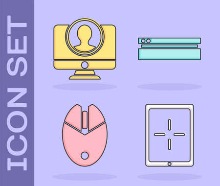 Set Tablet, Create account screen, Computer mouse gaming and Video game console icon. Vector.
