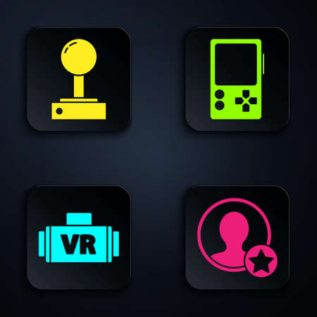 Set Premium create account screen, Joystick for arcade machine, Virtual reality glasses and Portable video game console. Black square button. Vector.