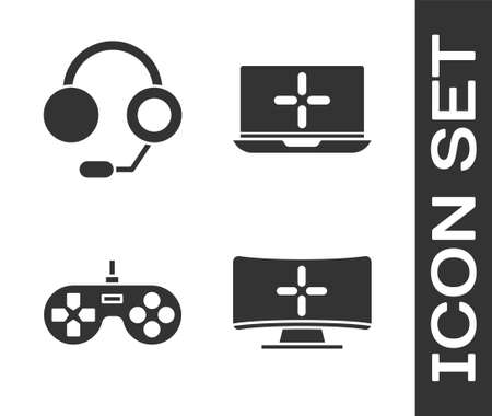 Set Computer monitor, Headphones, Gamepad and Laptop icon. Vector.