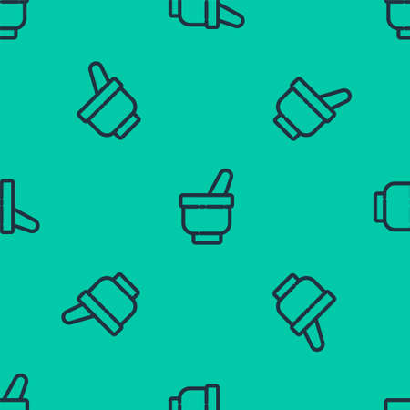 Blue line Magic mortar and pestle icon isolated seamless pattern on green background. Vector Illustration.