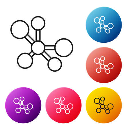 Black line Molecule icon isolated on white background. Structure of molecules in chemistry, science teachers innovative educational poster. Set icons colorful circle buttons. Vector.