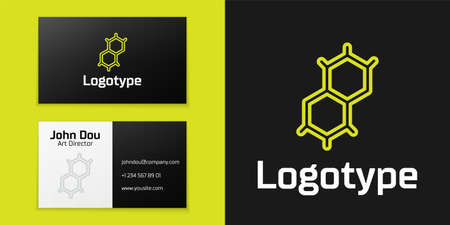 line Chemical formula icon isolated on black background. Abstract hexagon for innovation medicine, health, research and science.   design template element. Vector. Ilustração