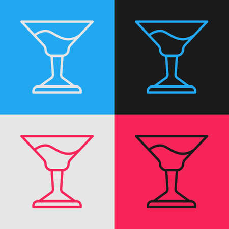 Pop art line Cocktail icon isolated on color background. Vector. Ilustração