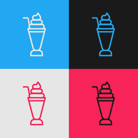 Pop art line Milkshake icon isolated on color background. Plastic cup with lid and straw. Vector.