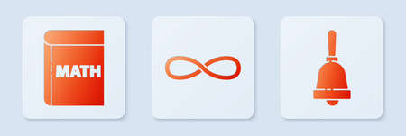 Set Infinity, Book with word mathematics and Ringing bell. White square button. Vector.