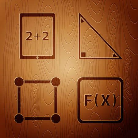 Set Function mathematical symbol, Tablet with calculator, Geometric figure Square and Triangle math on wooden background. Vector.
