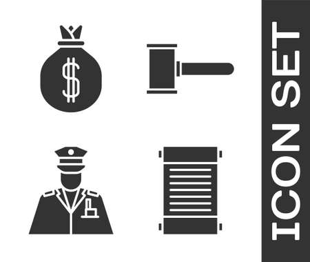 Set Decree, paper, parchment, scroll, Money bag, Police officer and Judge gavel icon. Vector Illustration