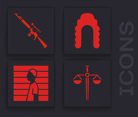 Set Scales of justice, Sniper rifle with scope, Judge wig and Suspect criminal icon. Vector.