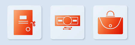 Set Stacks paper money cash, Lawsuit paper and Briefcase. White square button. Vector.