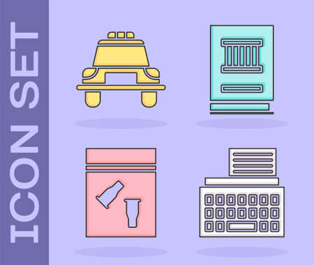 Set Retro typewriter, Police car and flasher, Evidence bag and bullet and Law book icon. Vector.
