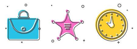 Set Briefcase, Hexagram sheriff and Clock icon. Vector. Ilustração