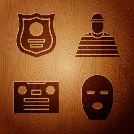 Set Thief mask, Police badge, Retro audio cassette tape and Prisoner on wooden background. Vector.