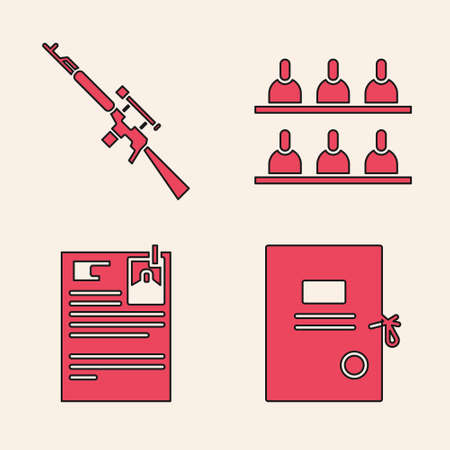 Set Lawsuit paper, Sniper rifle with scope, Jurors and Lawsuit paper icon. Vector.