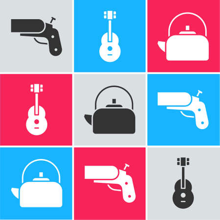 Set Flare gun pistol, Guitar and Kettle with handle icon. Vector.