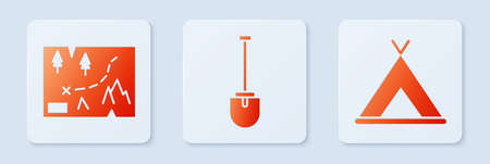 Set Shovel, Folded map with location and Tourist tent. White square button. Vector. Stock Illustratie
