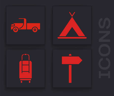 Set Road traffic signpost, Pickup truck, Tourist tent and Suitcase icon. Vector.