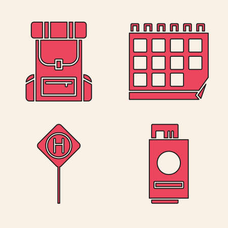 Set Passport with ticket, Hiking backpack, Calendar and Parking icon. Vector.