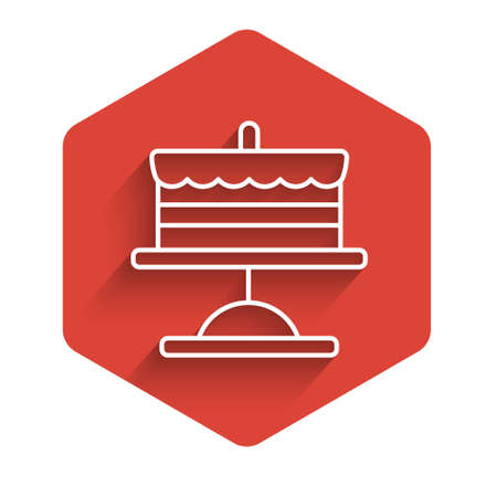 White line Cake on plate icon isolated with long shadow. Happy Birthday. Red hexagon button. Vector. Ilustração