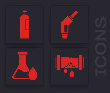 Set Broken metal pipe with leaking water, Industrial gas cylinder tank, Gasoline pump nozzle and Oil petrol test tube icon. Vector.