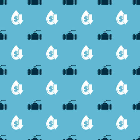 Set Industry metallic pipes and valve and Drop in crude oil price on seamless pattern. Vector.