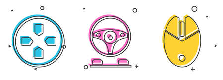 Set Gamepad, Racing simulator cockpit and Computer mouse gaming icon. Vector. Stock Illustratie