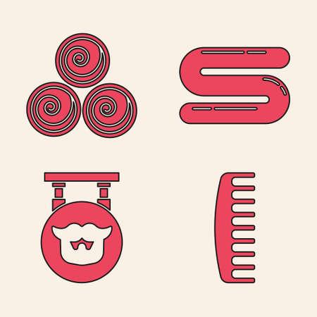 Set Hairbrush, Towel rolls, Towel and Barbershop icon. Vector. Ilustração