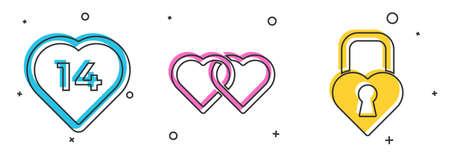 Set Heart, Two Linked Hearts and Castle in the shape of a heart icon. Vector.