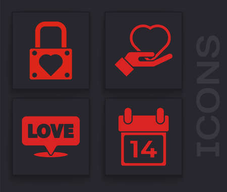 Set Calendar with February 14, Lock and heart, Heart on hand and Speech bubble with text love icon. Vector.