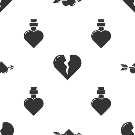 Set Amour with heart and arrow, Broken heart or divorce and Bottle with love potion on seamless pattern. Vector. 일러스트