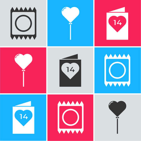 Set Condom in package, Balloons in form of heart and Valentines day flyer with heart icon. Vector.