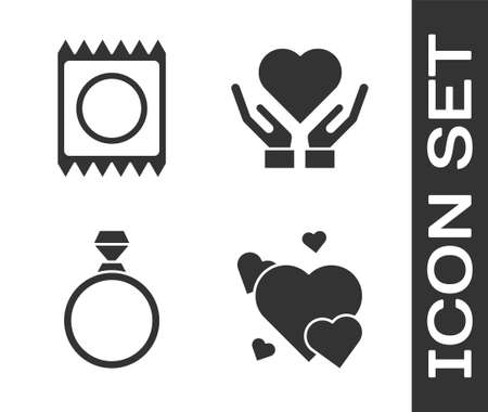 Set Heart, Condom in package, Diamond engagement ring and Heart on hand icon. Vector.