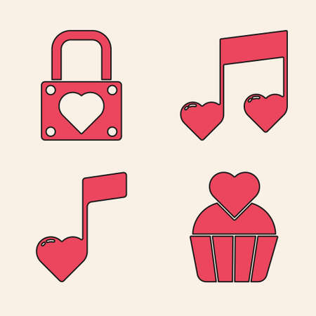 Set Wedding cake with heart, Lock and heart, Music note, tone with hearts and Music note, tone with hearts icon. Vector.