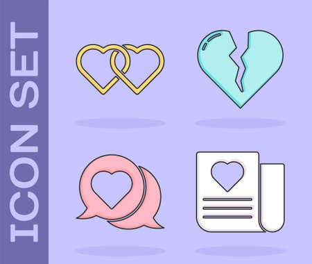 Set Envelope with Valentine heart, Two Linked Hearts, Heart in speech bubble and Broken heart or divorce icon. Vector.