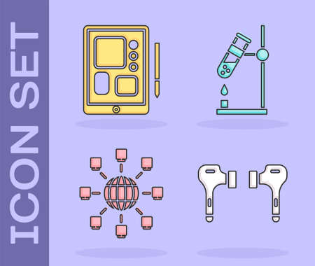 Set Air headphones, Graphic tablet, Social network and Test tube flask on fire icon. Vector.
